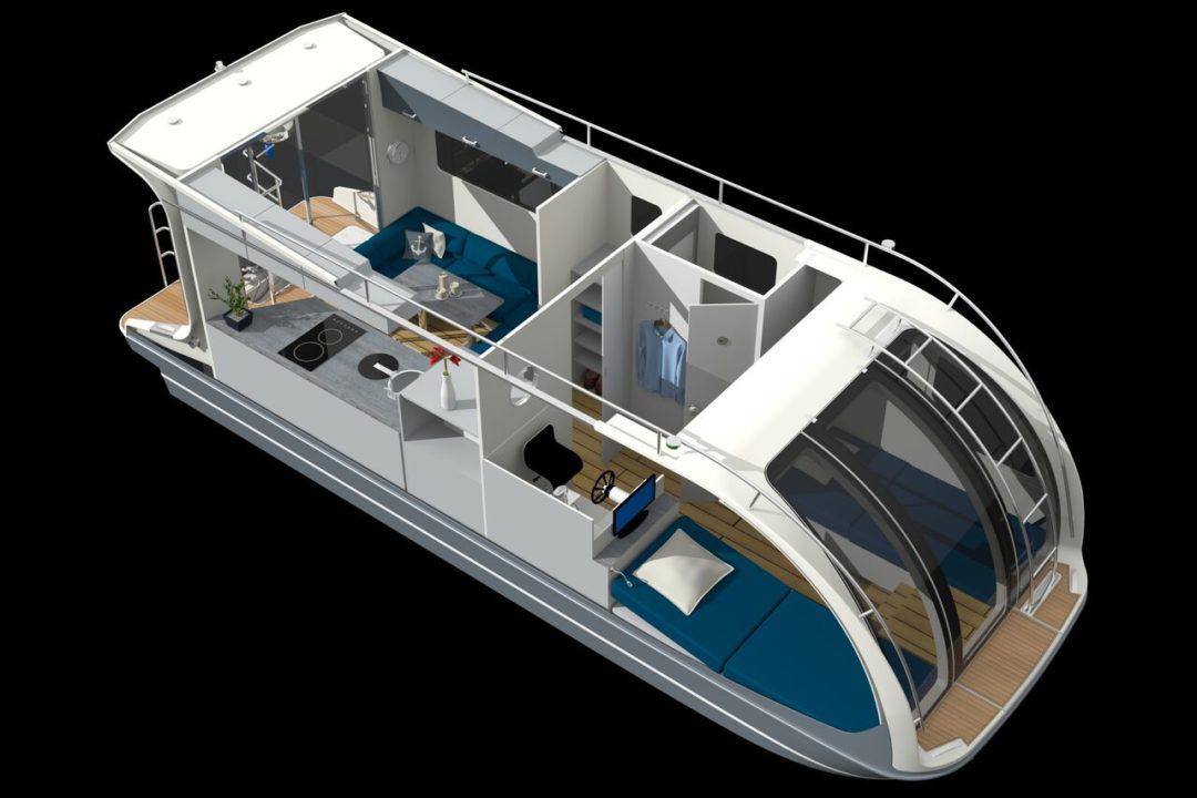 Intérieur du CaravanBoat - Departure One (Bateau caravane)