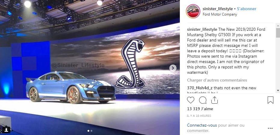 La Ford Mustang Shelby GT500 fuite sur Instagram avant sa présentation à Detroit en janvier 2019