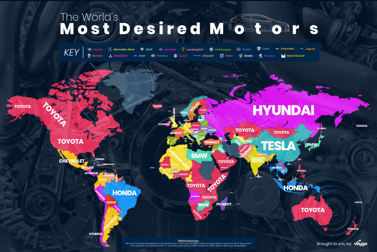 Les constructeurs les plus recherchés sur Google dans le monde