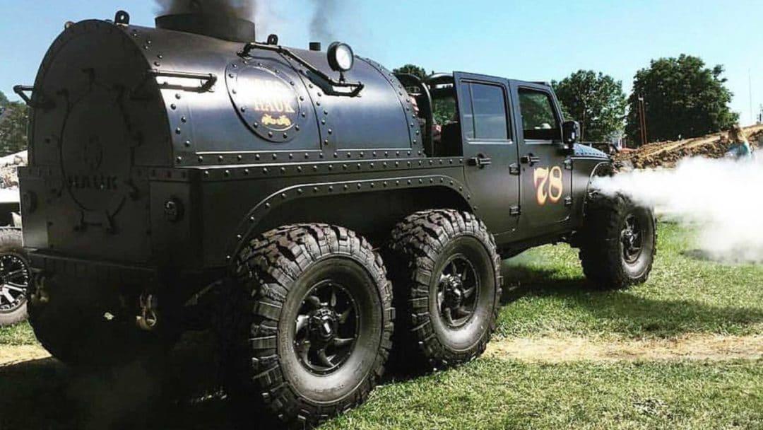 Jeep Wrangler à 6 roues + vapeur
