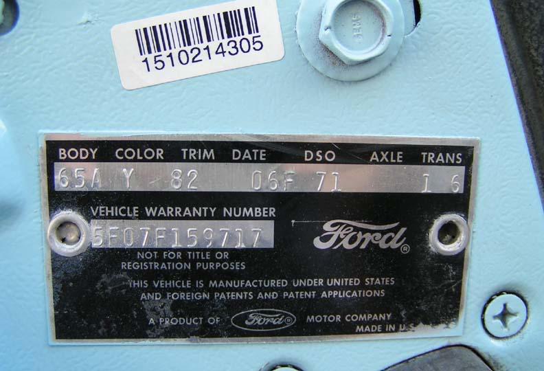 Numéro de série Ford Mustang