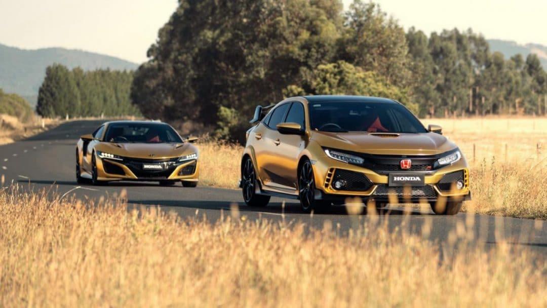 Honda Civic Type R et NSX dorées