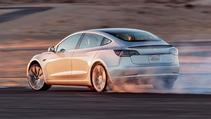 Tesla Model 3 drift