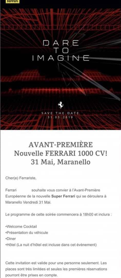 Invitation Ferrari présentation hypercar hybride