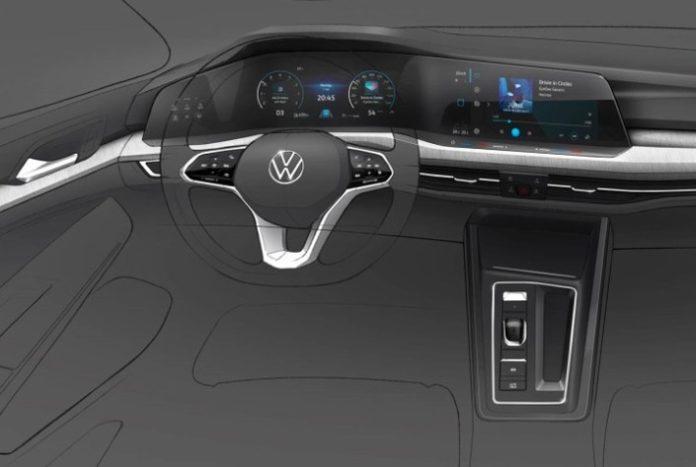 Croquis Volkswagen de l'intérieur de la Golf 8