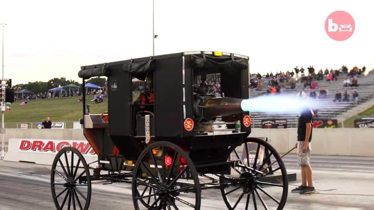 Calèche Amish dotée d'un réacteur