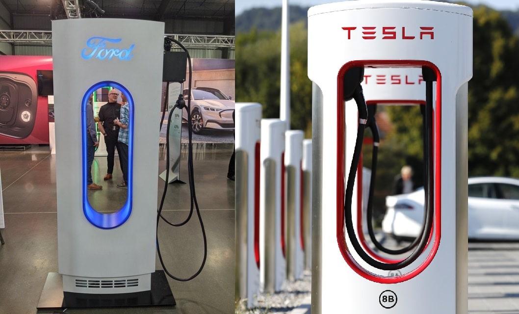Chargeur électrique Ford vs Tesla
