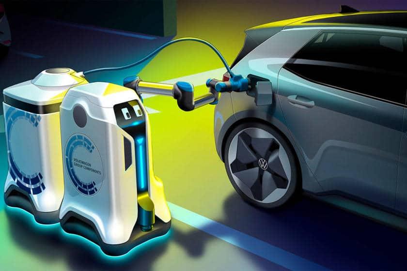 Volkswagen invente un robot mobile qui recharge des voitures électriques de façon autonome