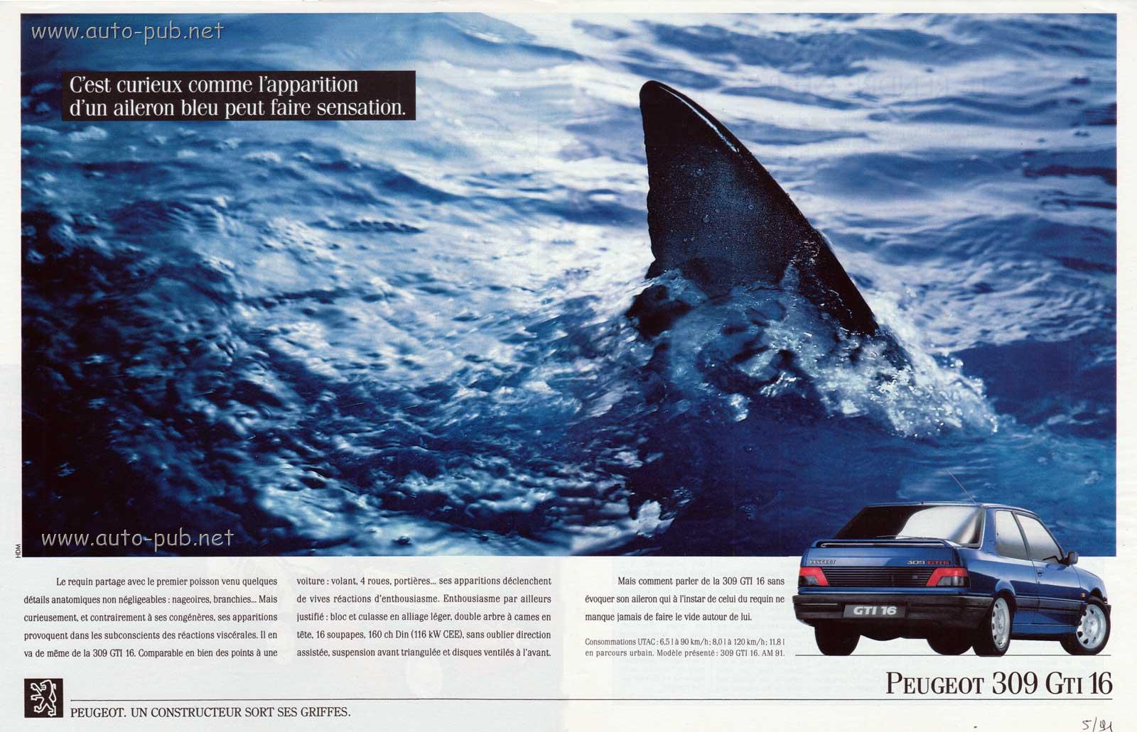 Publicité Peugeot 309 GTI 16