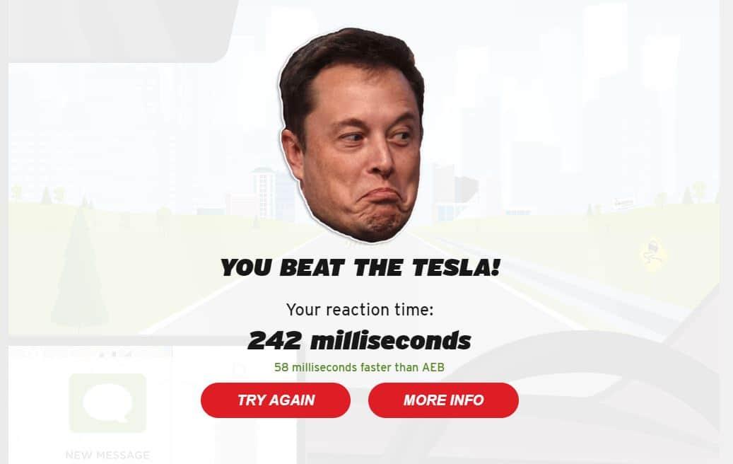 Tesla jeu temps de réaction AEB
