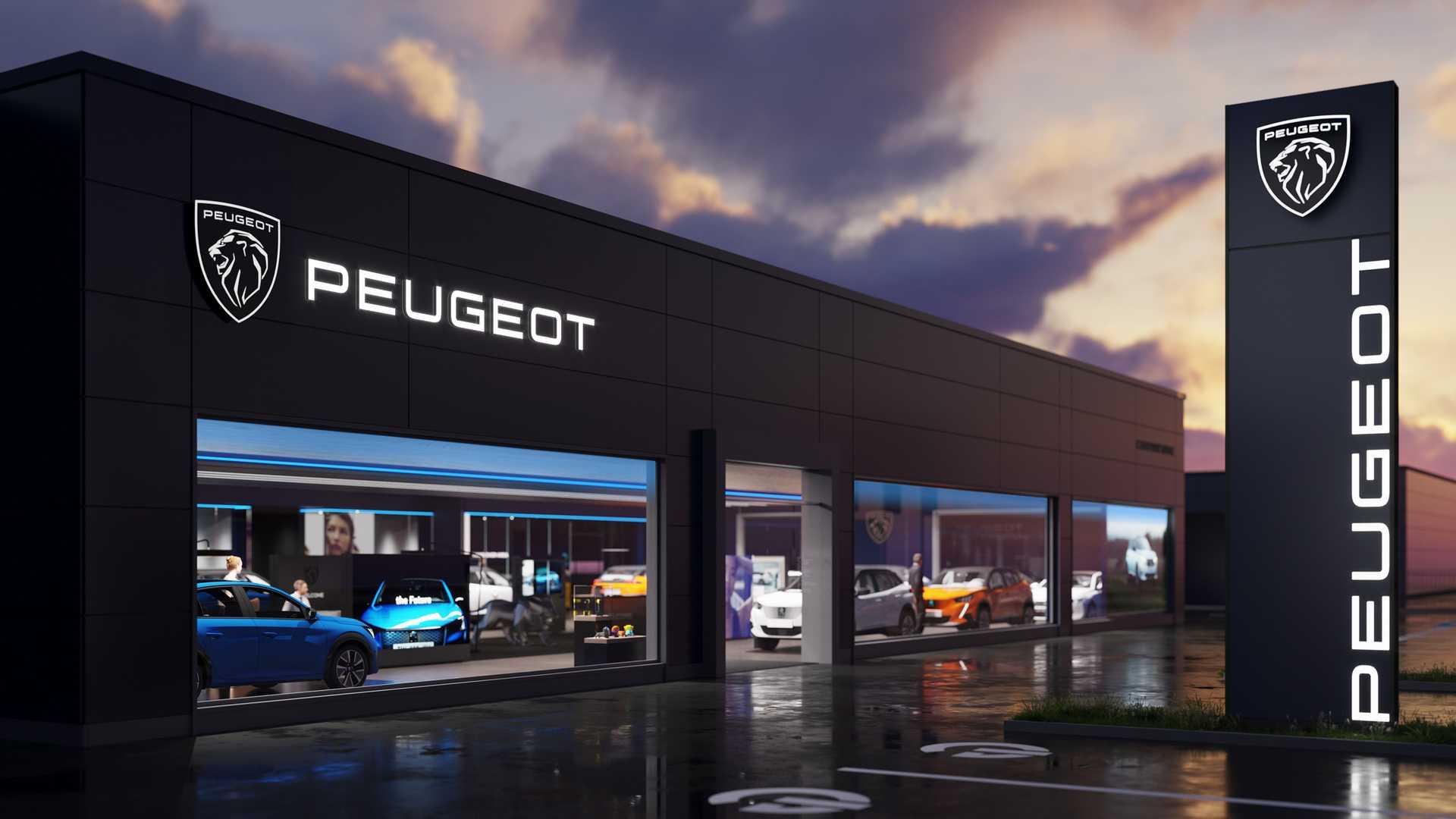 Concession Peugeot avec nouveau logo (2021)