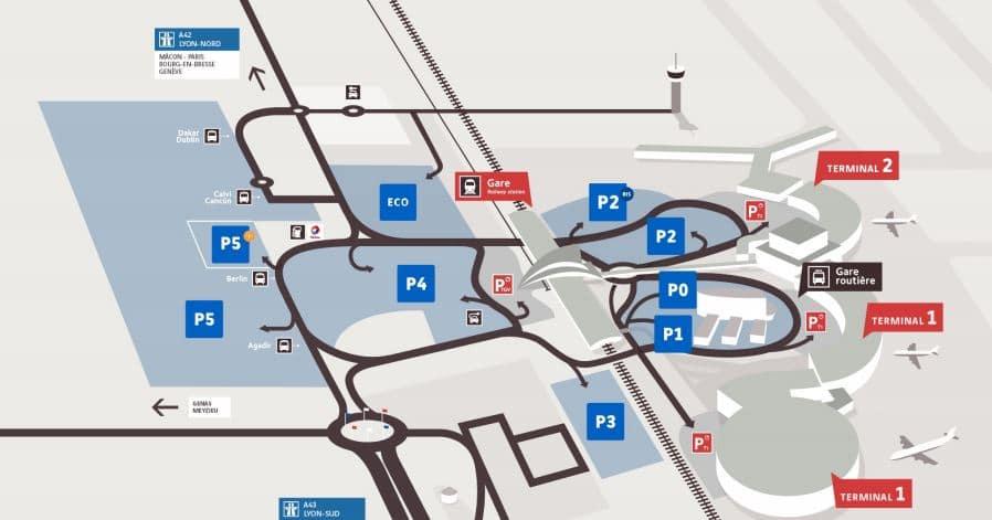 plan parking aéroport lyon saint exupery
